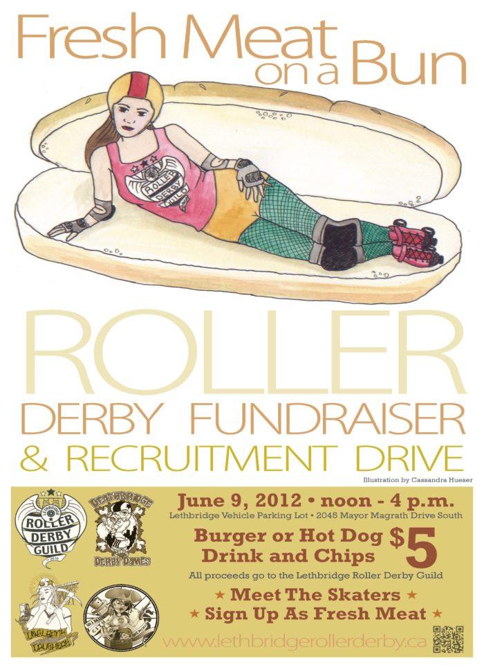 Fresh Meat On A Bun Poster Lethbridge Roller Derby Guild