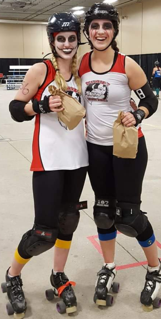 LEFT: Smacklemore (Marissa Stocker) and her older sister, Mad-Dawg (Madison) after an MVP win.